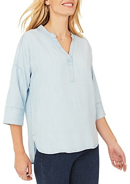 Foxcroft Roman Indigo High/Low Tunic