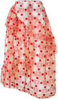 Simone Rocha floral print ruffled skirt - women - Cotton/Nylon/Polyester - 6