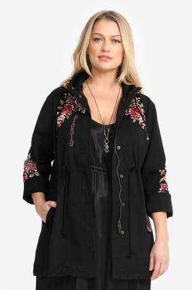 Johnny Was Valentina Hooded Military Jacket-Plus Size