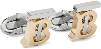 Burberry Logo Silver And Gold-Tone Cufflinks
