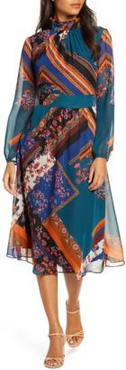 Julia Jordan Mock Neck Long Sleeve Fit & Flare Dress
