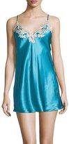 La Perla Maison Lace-Trimmed Chemise, Turquoise