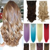 DODOING 8Pcs 18 Clips 17-26 Inch Curly Straight Full Head Clip in on Hair Extensions