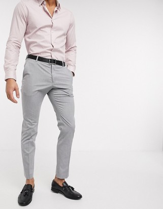 Selected suit pants with stretch in slim fit light gray
