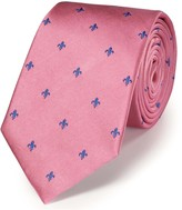 Charles Tyrwhitt Pink and royal blue silk classic Fleur-de-Lys tie