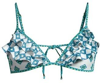 Ramy Brook Printed Ruffle Bikini Top