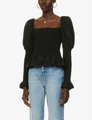 Olivia Rose The Label Esmeralda puffed-sleeve organic cotton-poplin top