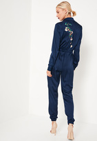 Missguided Navy Embroidered Back Satin Shirt Romper