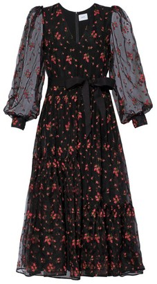 Erdem Lucina Floral-embroidered Organza Dress - Black Red