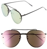 Leith Women's Kitty 60Mm Mirrored Sunglasses - Black/ Pink