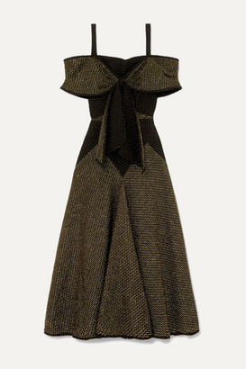 Anna Mason - Lily Bow-detailed Cold-shoulder Metallic Crepe Midi Dress - Black