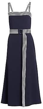 Lela Rose Women's Belted Squareneck Midi Dress