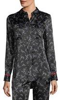 Equipment Slim Signature Button-Front Pajama Silk Satin Shirt