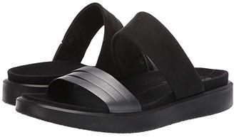 Ecco Flowt Slide Sandal (Black/Dark Shadow Metallic/Black Cow Leather/Cow Nubuck) Women's Slide Shoes