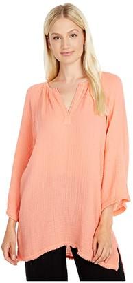 Michael Stars Micah Double Gauze Wide Sleeve Tunic (Melon) Women's Clothing