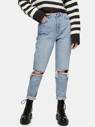 Topshop Double Rip High Waist Mom Jeans - Bleached