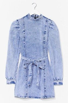 Nasty Gal Womens Call Me Materialistic Denim Belted Mini Dress - Blue - S, Blue