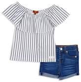7 For All Mankind Girls' Off-the-Shoulder Striped Top & Denim Shorts Set - Baby