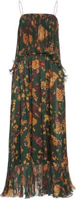 AMUR Adeline Floral-Print Silk Dress