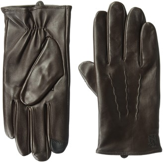 Ike Behar Men's Lambswool Lined Leather Touchscreen Gloves