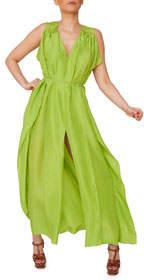 Aya Silk Peridot Silk Maxi Dress