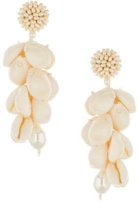 Oscar de la Renta Beaded Cowry Shell Cluster Drop Earrings