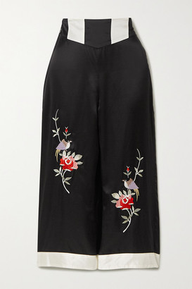 Morgan Lane Olive Cropped Embroidered Satin Pajama Pants - Black