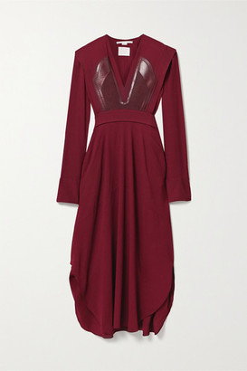 Stella McCartney Net Sustain Snake-effect Vegetarian Leather-trimmed Layered Crepe Dress - Burgundy