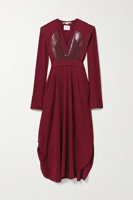 Stella McCartney Net Sustain Snake-effect Vegetarian Leather-trimmed Layered Crepe Dress - Burgundy