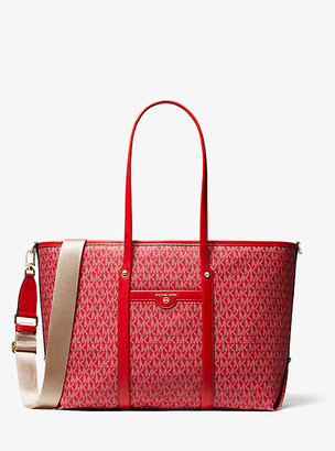 MICHAEL Michael Kors MK Beck Large Logo Tote Bag - Bright Red - Michael Kors
