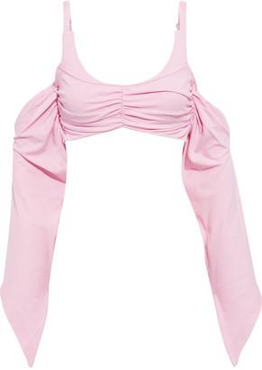 Helmut Lang Cold-shoulder Ruched Cotton-jersey Top