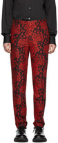 Alexander McQueen Black and Red Jacquard Ivy Creeper Trousers