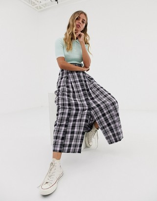 Asos Design DESIGN check midi skirt with button front