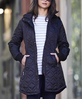 Steve Madden Women's Car Coats BLACK - Black Hooded Quilted Coat - Women & Plus