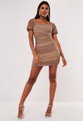 Missguided Petite Taupe Mesh Puff Sleeve Milkmaid Mini Dress
