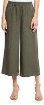 Eileen Fisher Elastic-Waist Wide Cropped Pants