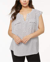 INC International Concepts Plus Size Printed Popover Top, Created for Macy's