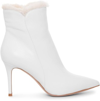 Gianvito Rossi Levy 85 white ankle boots