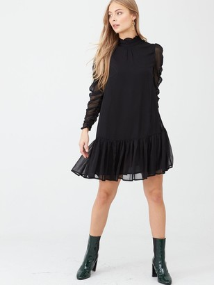 Very Georgette Ruched Sleeve Tunic Dress - Black