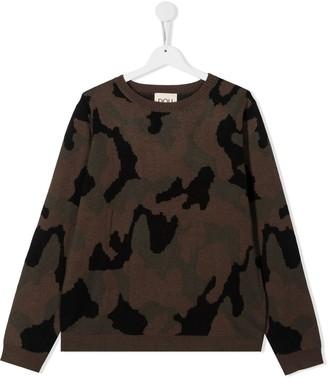 Douuod Kids TEEN camouflage rib-trimmed jumper