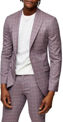 Topman Moda Super Skinny Plaid Suit Coat