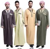 AFT-aofeite Men's Long Sleeve Scoop Neck Patchwork Muslim Thobes Saudi Style Robes (XL, )