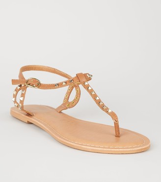 New Look Leather Stud Flat Sandals