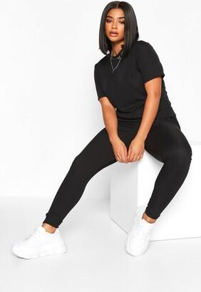 boohoo Plus Rib T-Shirt And Legging Co-Ord