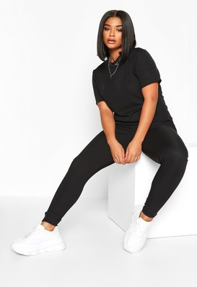 boohoo Plus Rib T-Shirt + Legging Co-Ord