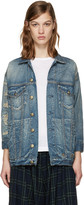 R 13 Blue Denim Shredded Trucker Jacket