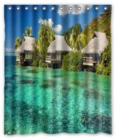"""Innovation Summer Tropical Sea Blue Water Shower Curtain Mildew Waterproof Polyester Fabric Bathroom Shower Curtain Size 60"""" x 72"""" Inch"""