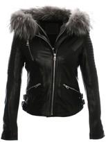 Voyage Black Leather Grey Fur Trim Biker Jacket