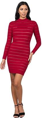 Bebe Long Sleeve Sheer Stripe Sweaterdress (Berry) Women's Dress