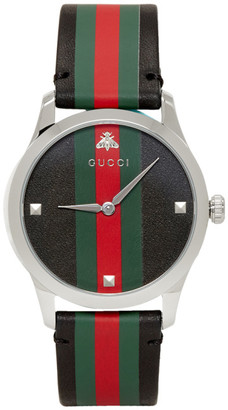 Gucci Black and Silver Striped Leather G-Timeless Watch